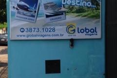 Painel com Lona Rebite produzido para o cliente Global Viagens